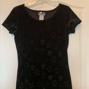 Long Floral Black Velvet Dress